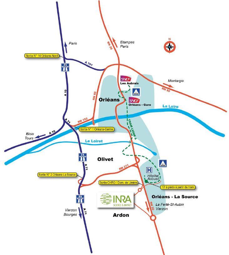 Plan d'accès au site INRA d'Orléans